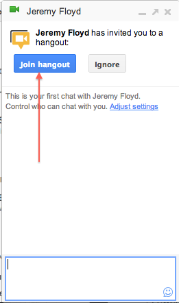 Messenger popup to Join Hangout