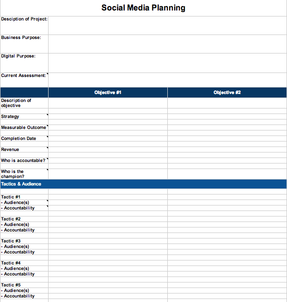 Social Media Strategy Spreadsheet