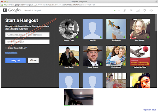 Google Hangout Launch Screen