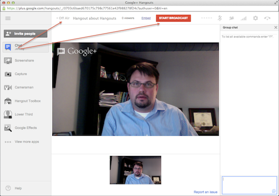 Broadcast the Google Hangout